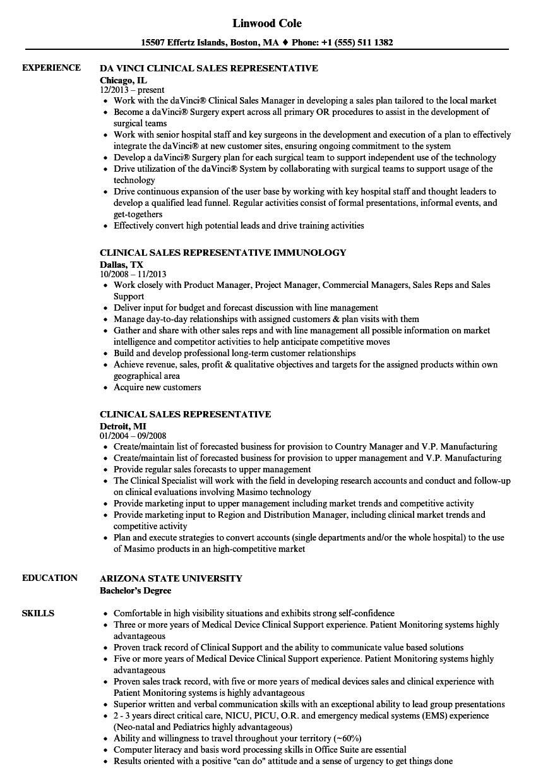clinical sales representative resume samples