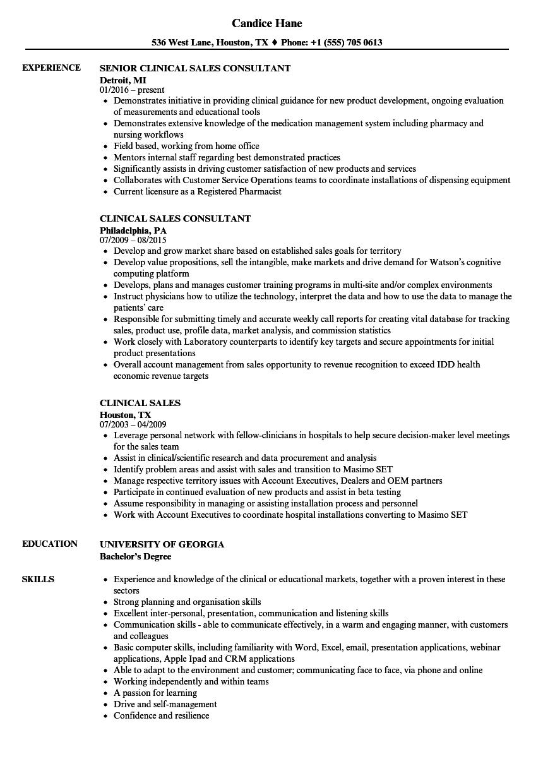 Clinical Sales Resume Samples | Velvet Jobs