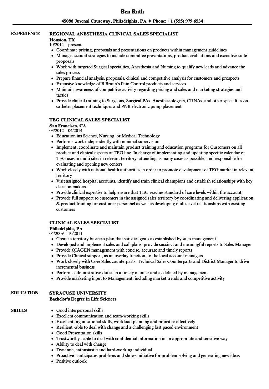 Clinical / Sales Specialist Resume Samples | Velvet Jobs