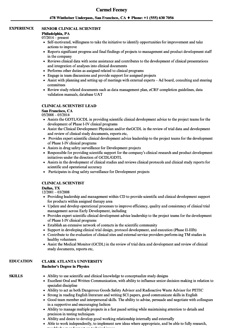 clinical scientist resume samples