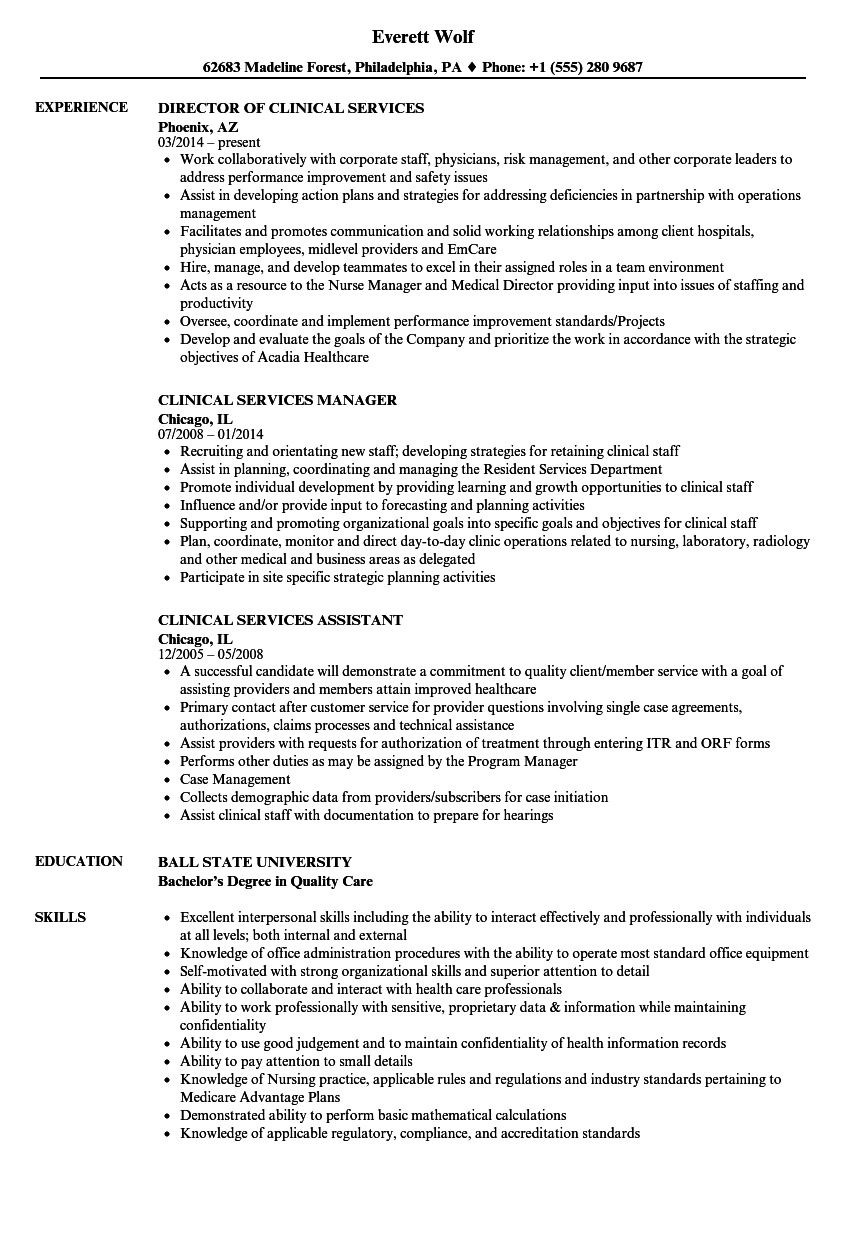 Clinical Services Resume Samples | Velvet Jobs