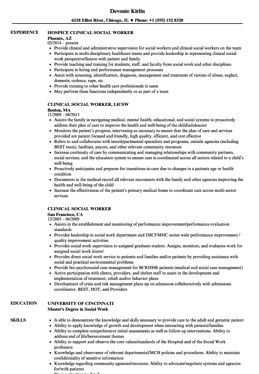 Clinical Social Worker Resume Samples | Velvet Jobs