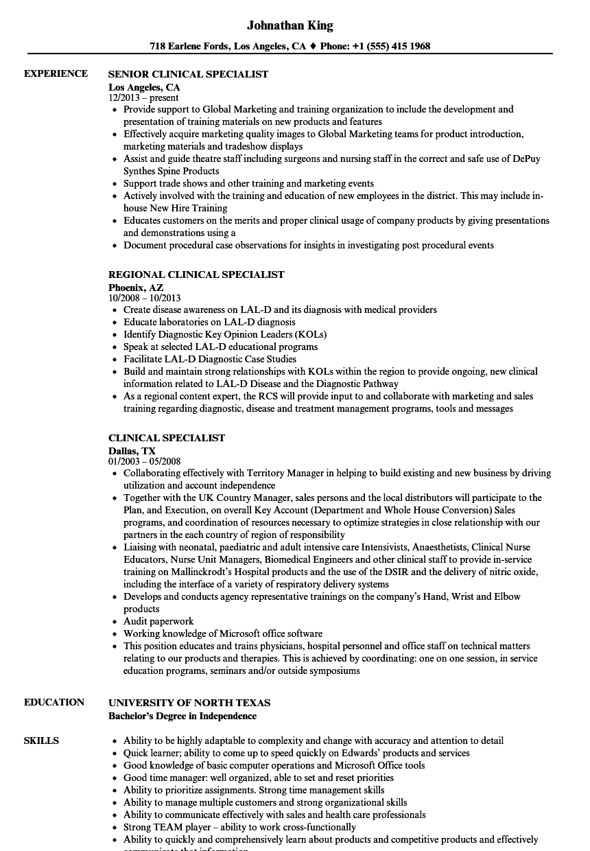 clinical specialist resume samples