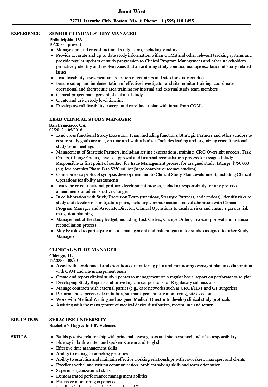 Clinical Study Manager Resume Samples | Velvet Jobs