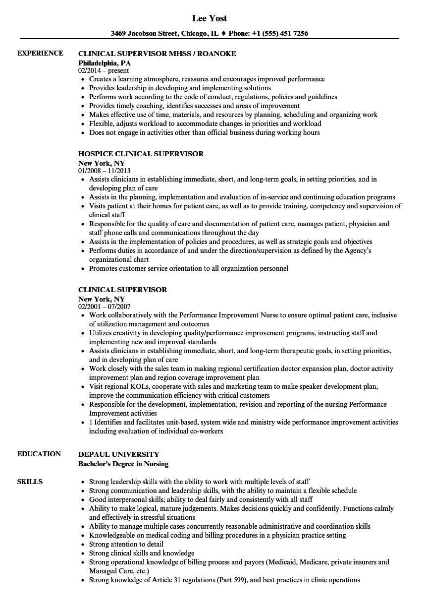 clinical supervisor resume sles velvet