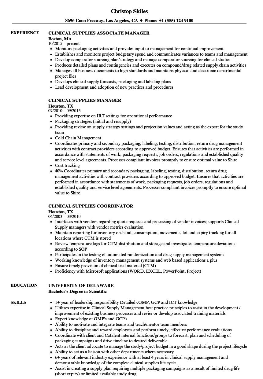 Clinical Supplies Resume Samples | Velvet Jobs