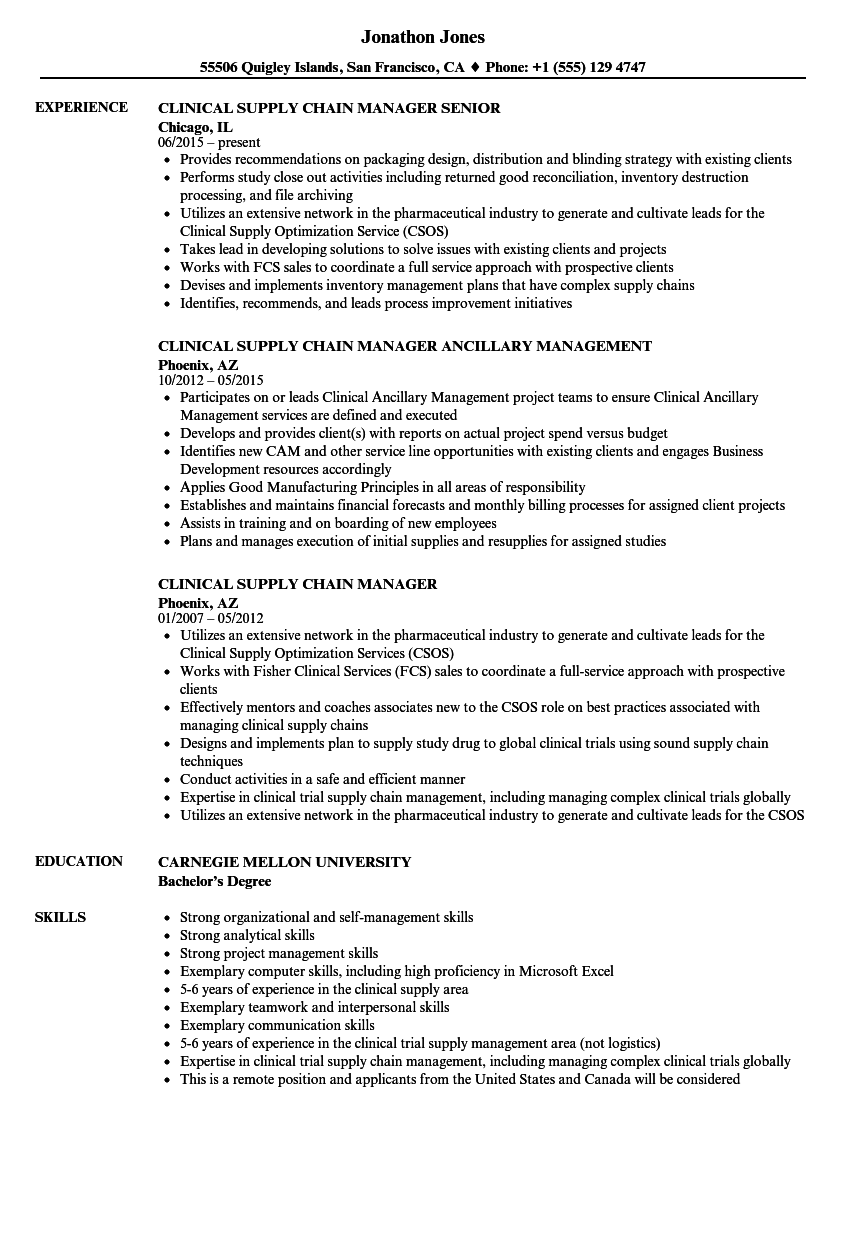clinical supply chain resume samples