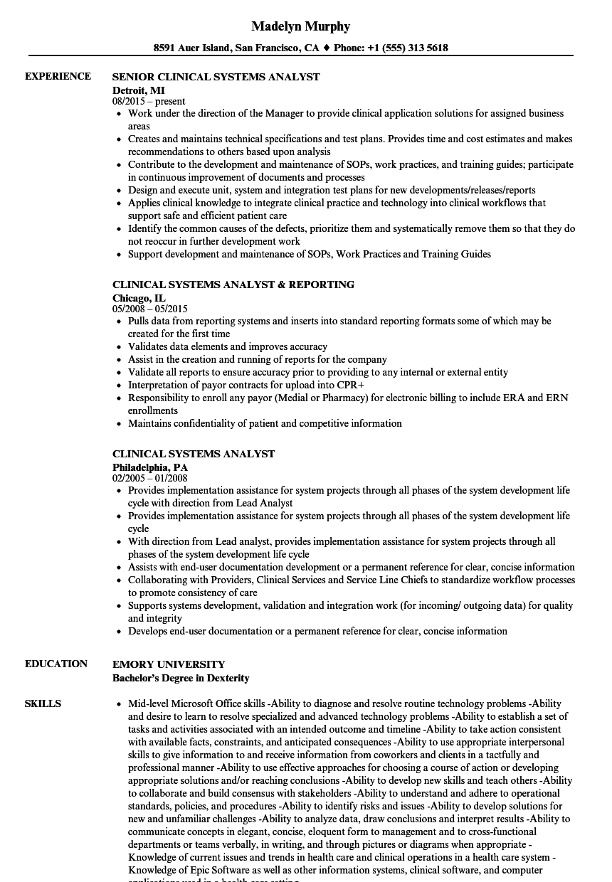 download clinical systems analyst resume sample as image file - Systems Analyst Resume Samples