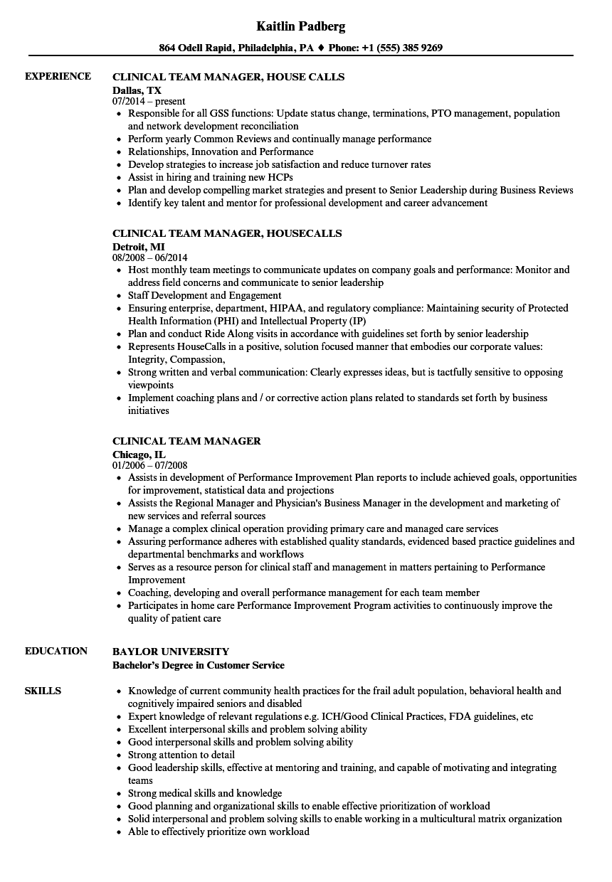 Clinical Team Manager Resume Samples | Velvet Jobs