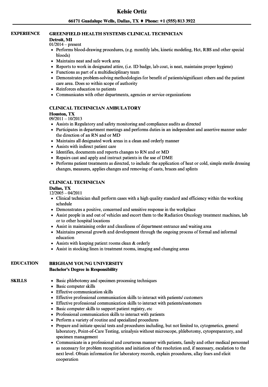 Clinical Technician Resume Samples Velvet Jobs
