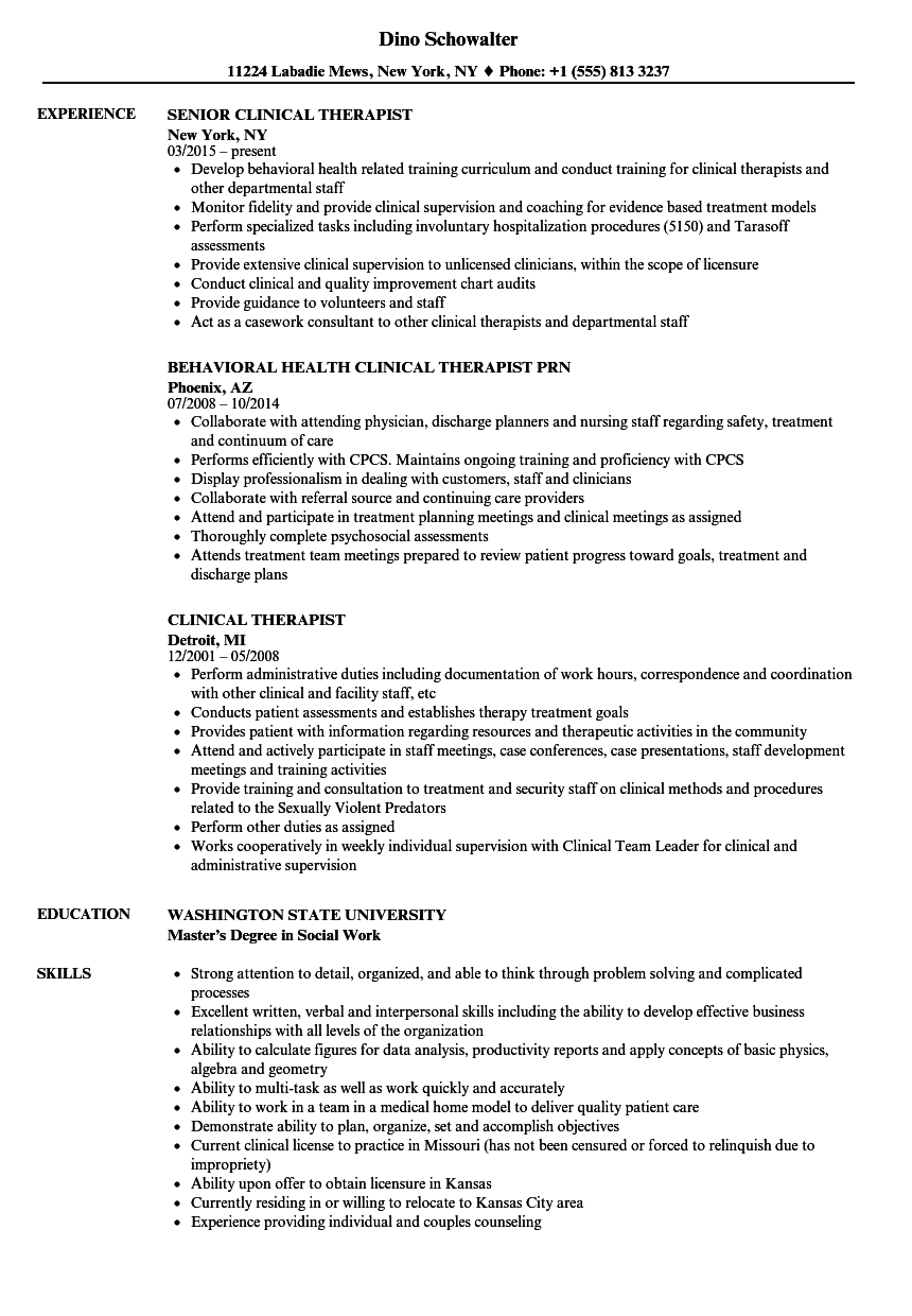 Clinical Therapist Resume Samples | Velvet Jobs