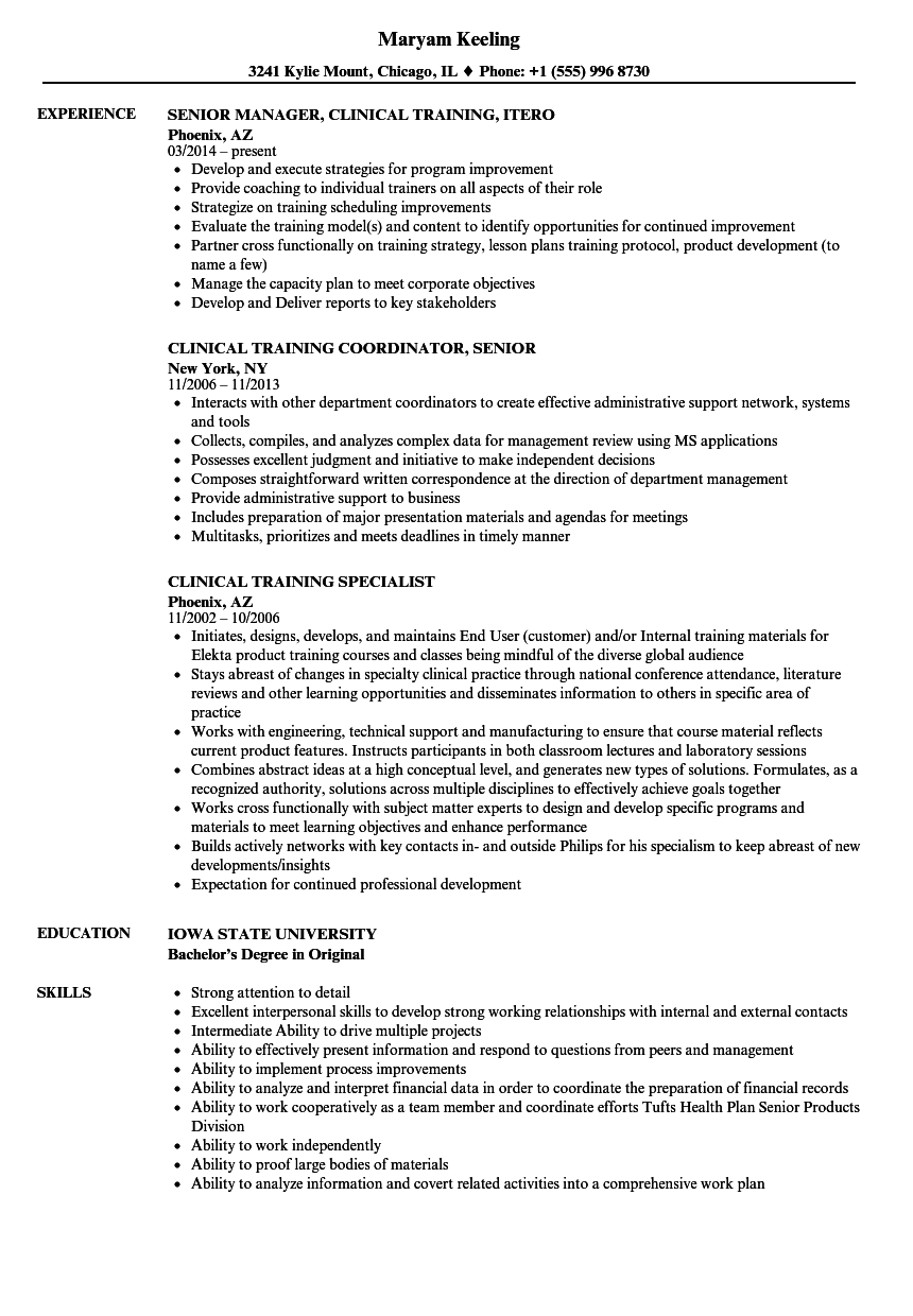 clinical training resume samples