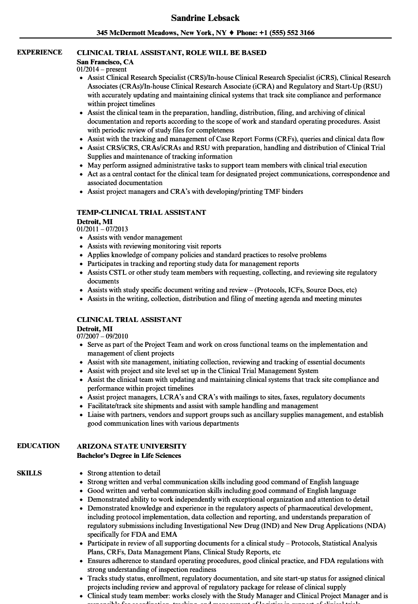 clinical trial assistant resume samples