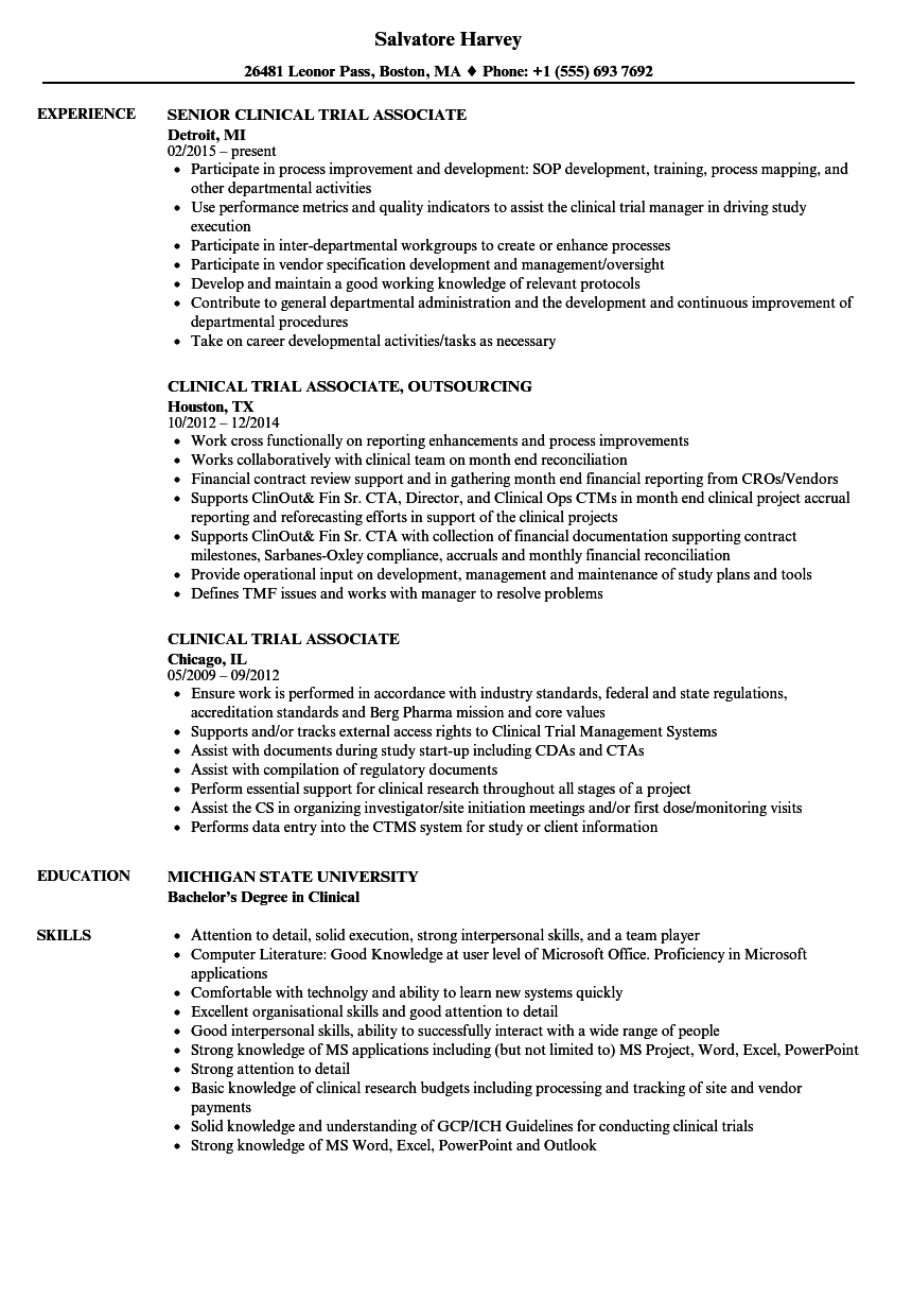 clinical trial associate resume samples