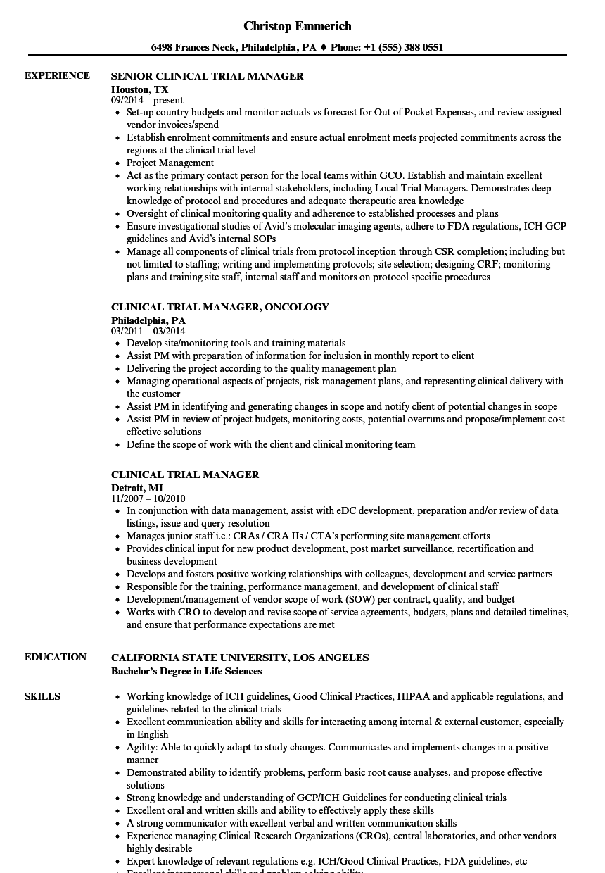 Clinical Trial Manager Resume Samples | Velvet Jobs