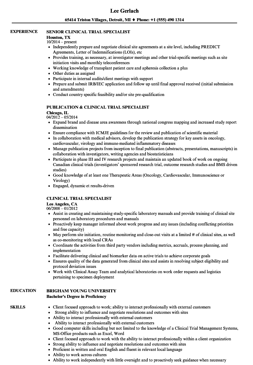 clinical trial specialist resume samples