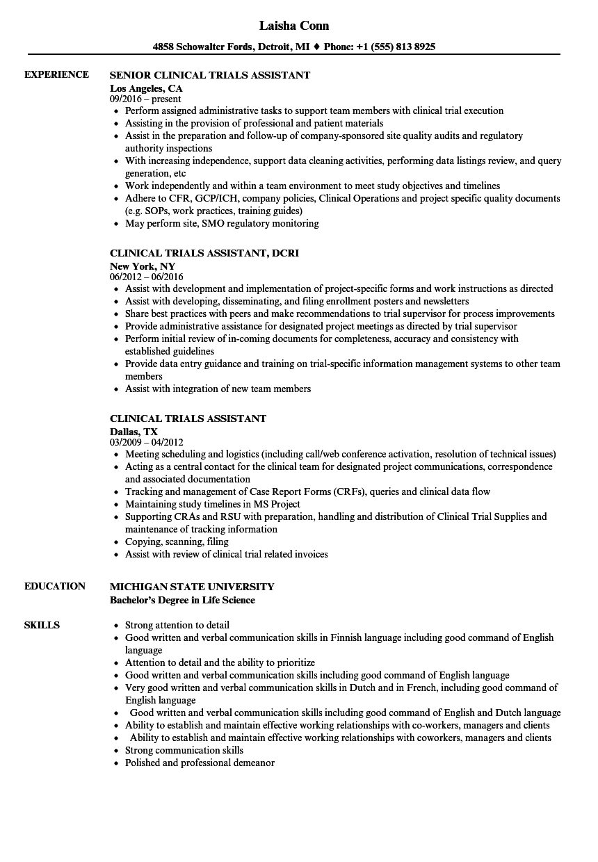clinical trials assistant resume samples