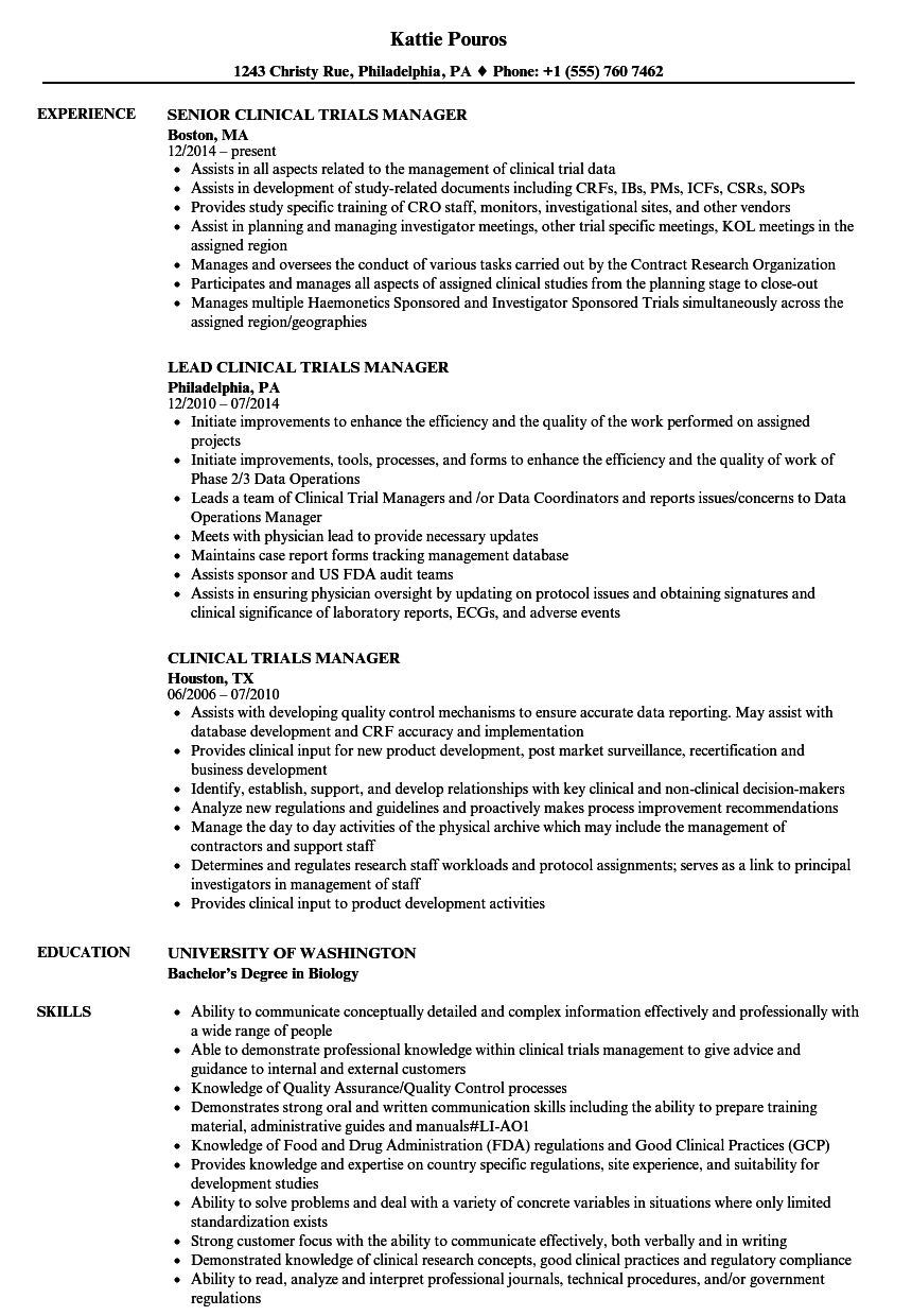 Clinical Trials Manager Resume Samples | Velvet Jobs