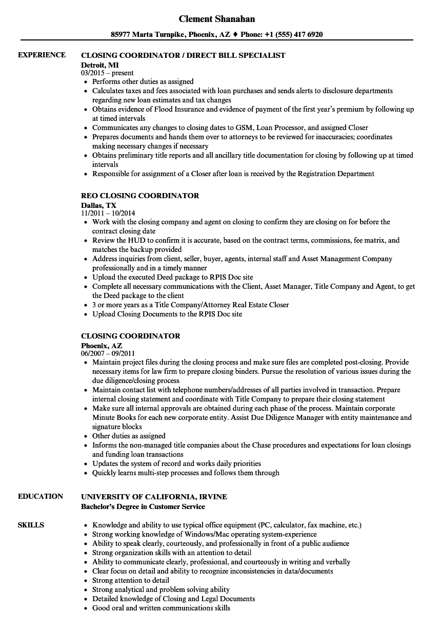 Closing Coordinator Resume Samples Velvet Jobs Wiring Money For House Download Sample As Image File
