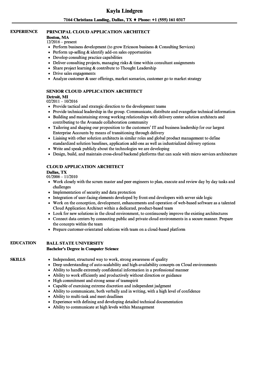 download cloud application architect resume sample as image file - Application Architect Resume