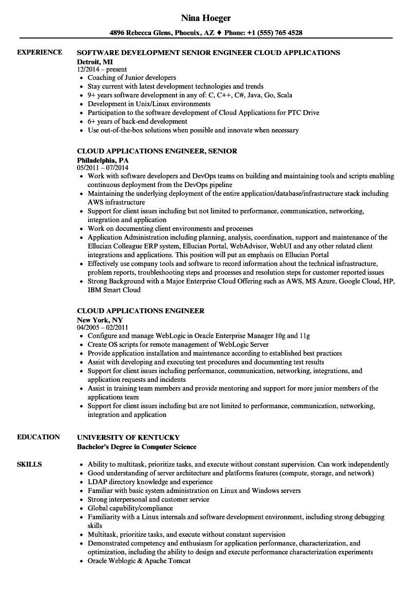 Cloud Applications Engineer Resume Samples | Velvet Jobs