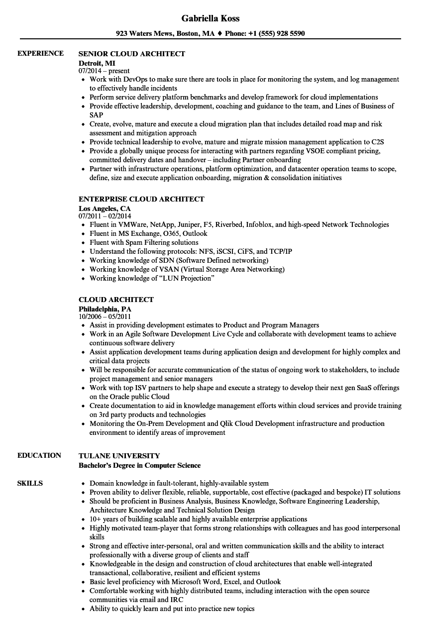 Cloud Architect Resume Samples | Velvet Jobs