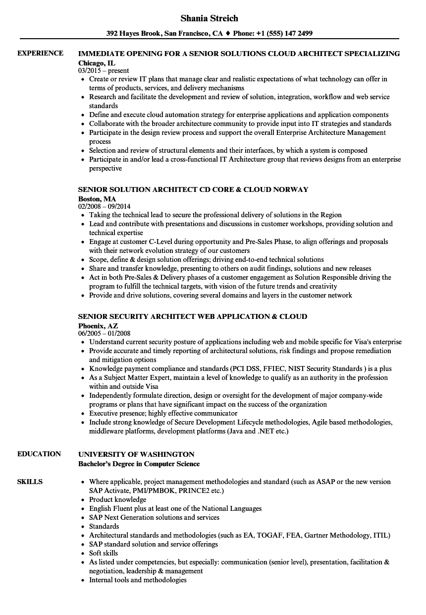 cloud architect  senior resume samples