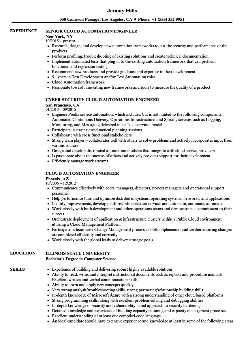 Cloud Automation Engineer Resume Samples Velvet Jobs