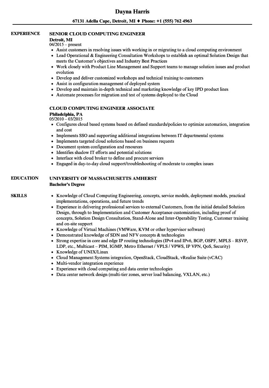 cloud computing engineer resume samples