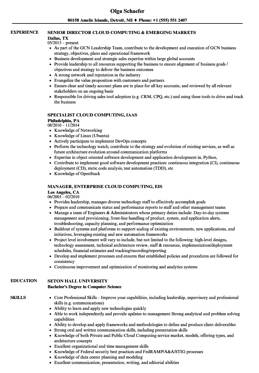 cloud computing resume samples