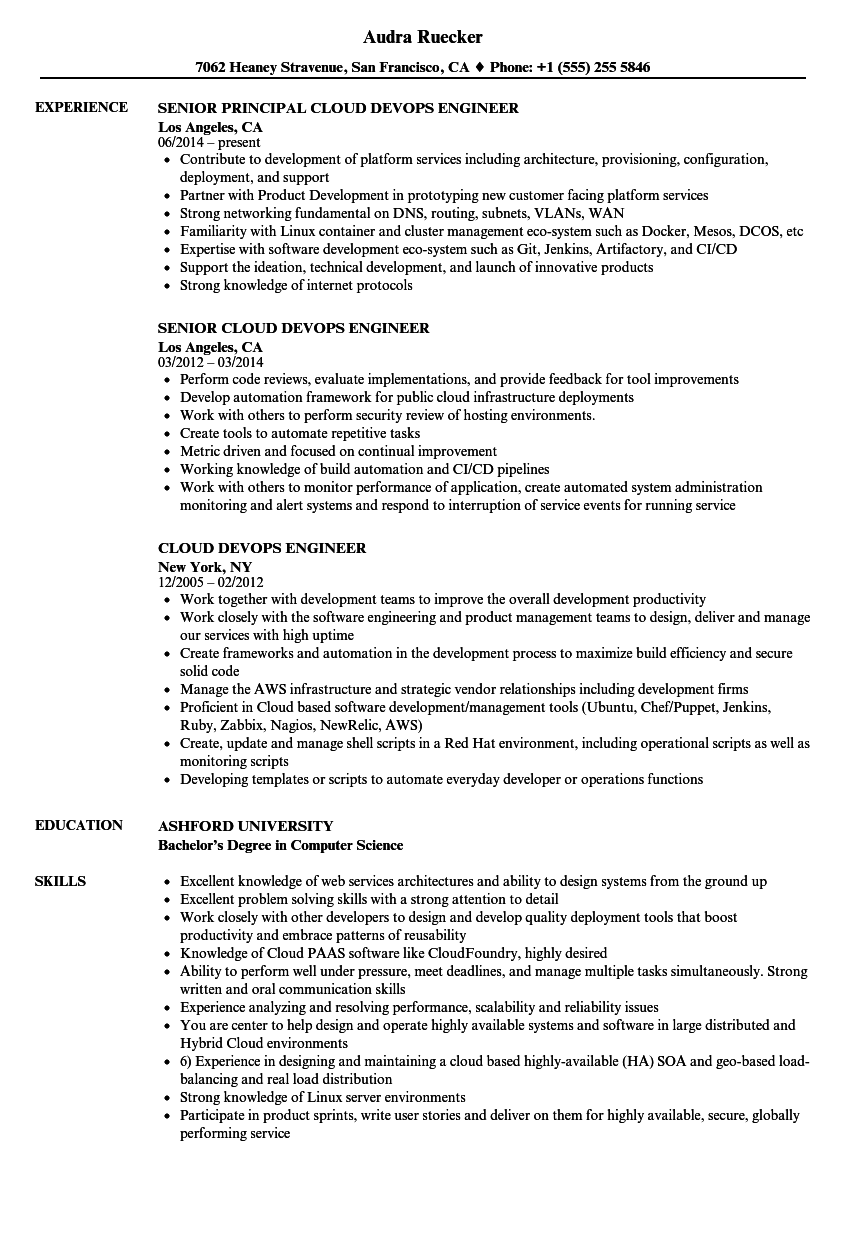 Cloud Devops Engineer Resume Samples  Velvet Jobs