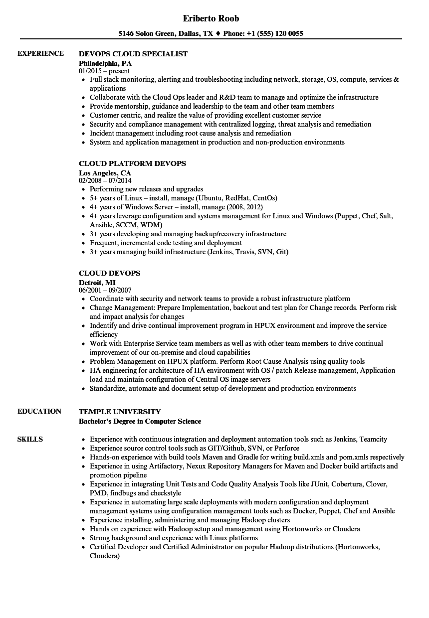 download cloud devops resume sample as image file - Devops Sample Resume