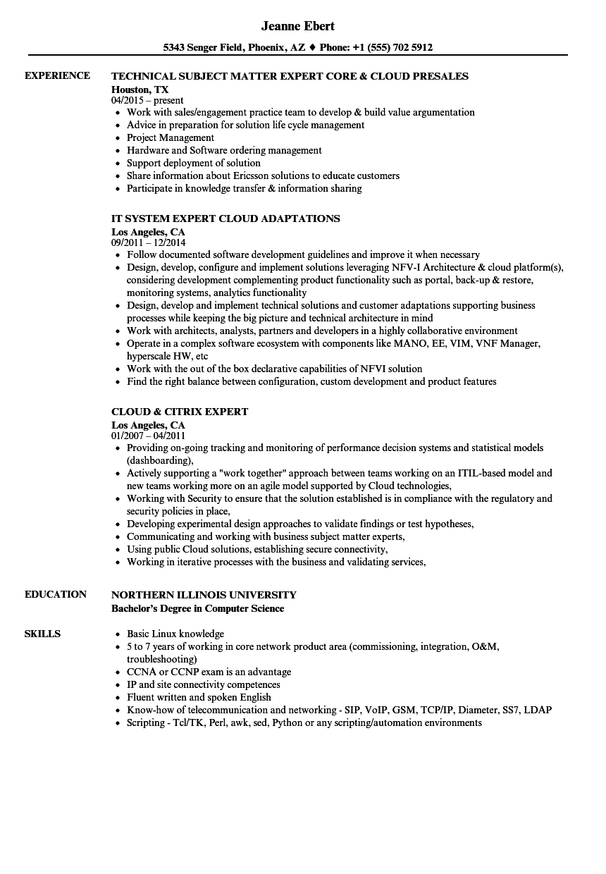 Cloud Expert Resume Samples Velvet Jobs