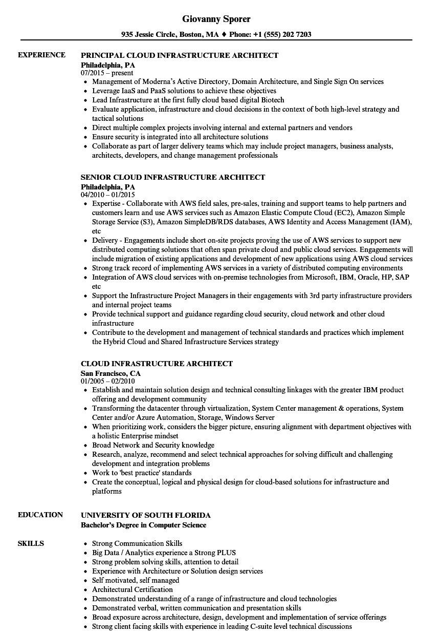 cloud infrastructure architect resume samples