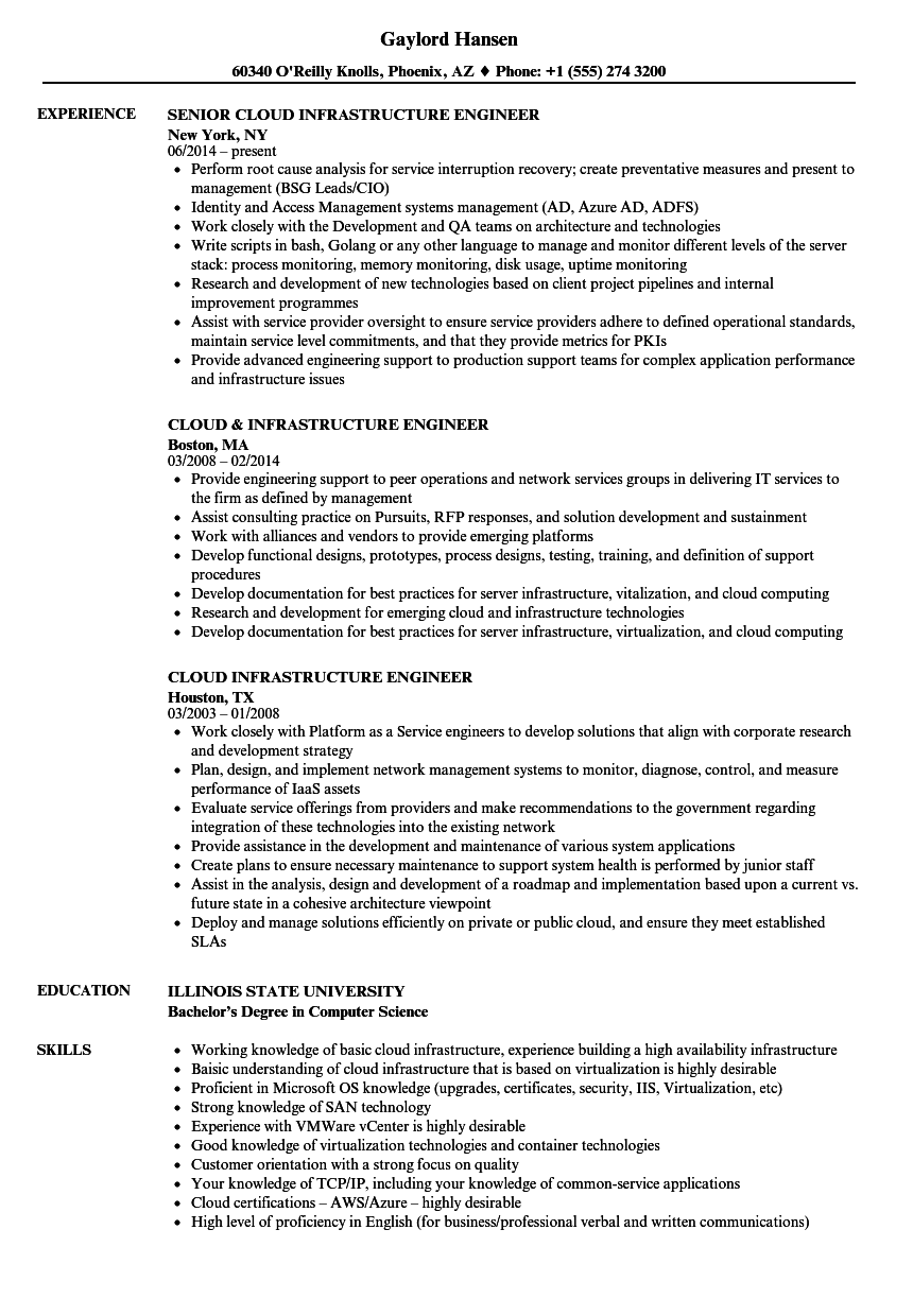 Cloud Infrastructure Engineer Resume Samples Velvet Jobs