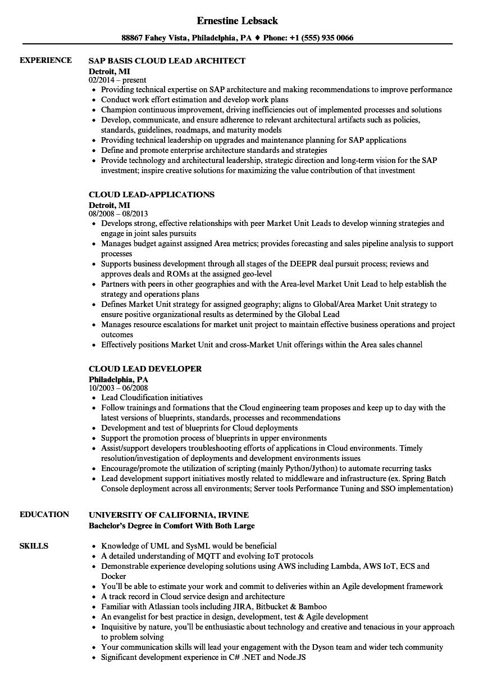cloud lead resume samples  velvet jobs