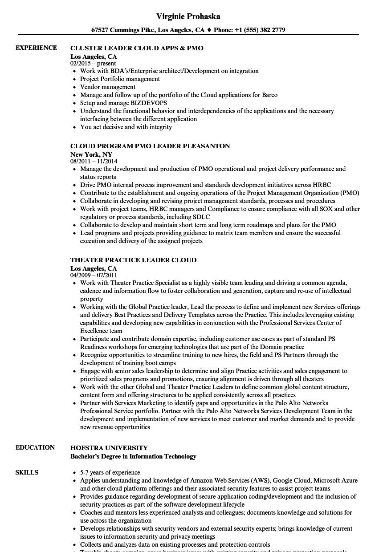 cloud leader resume samples