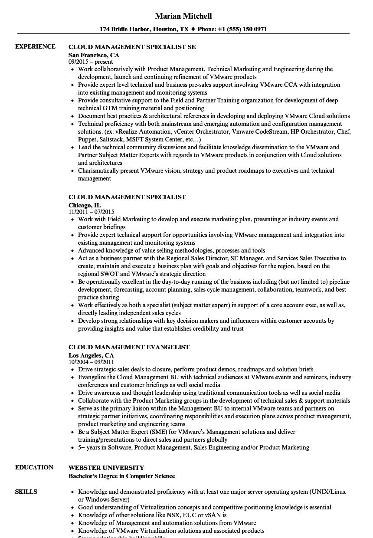 Cloud Management Resume Samples | Velvet Jobs