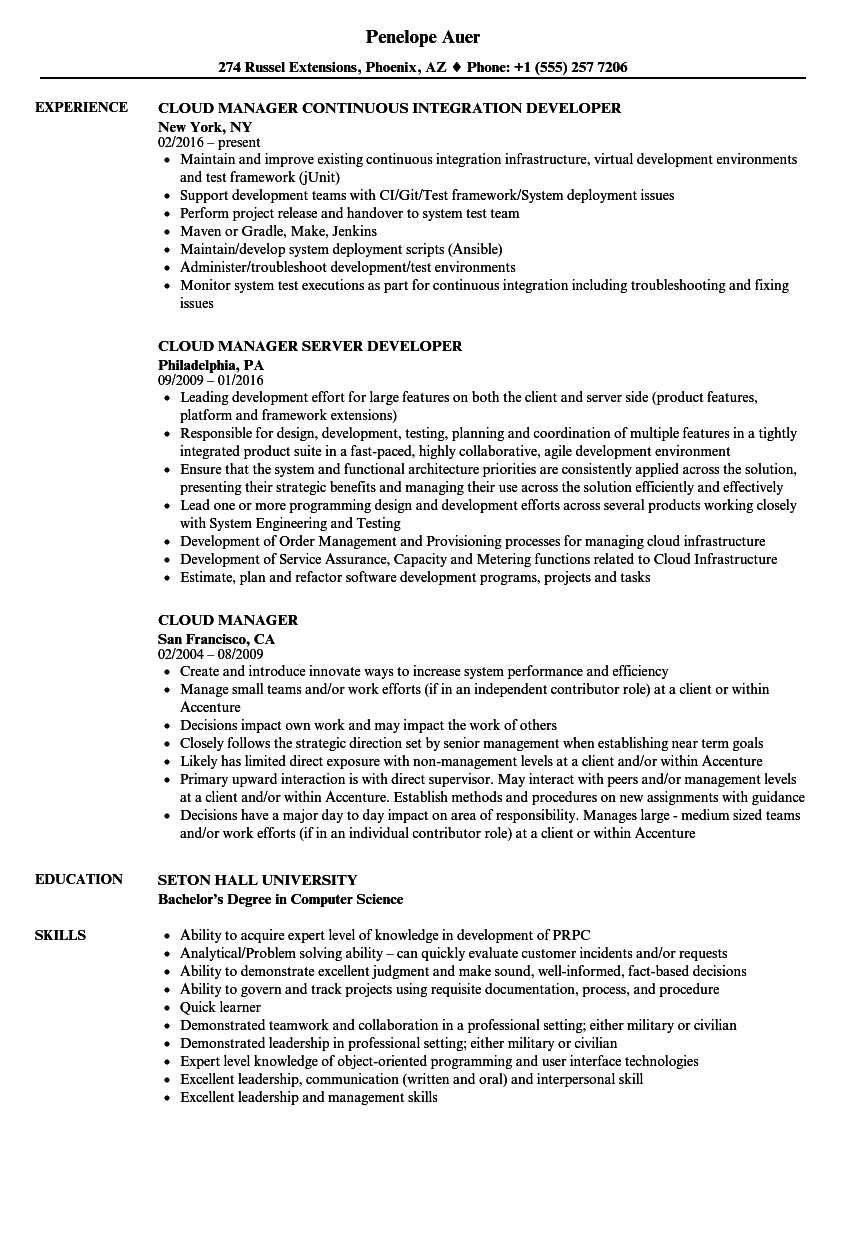 Cloud Manager Resume Samples | Velvet Jobs