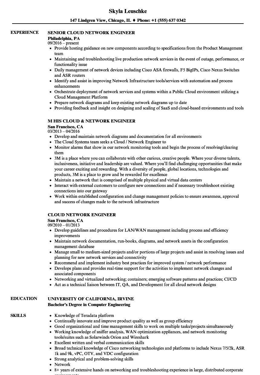 Cloud Network Engineer Resume Samples Velvet Jobs