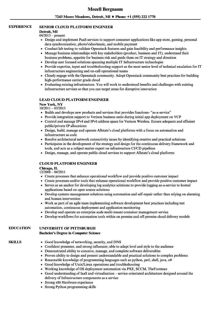 Cloud Platform Engineer Resume Samples Velvet Jobs