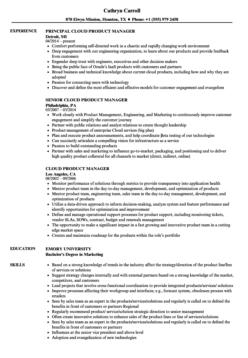 cloud product manager resume samples velvet jobs
