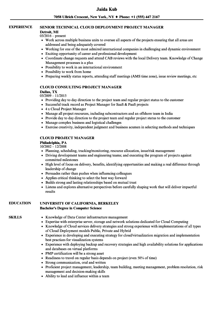 Cloud Project Manager Resume Samples | Velvet Jobs
