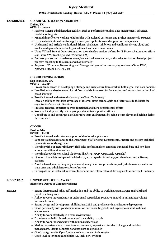 cloud resume samples
