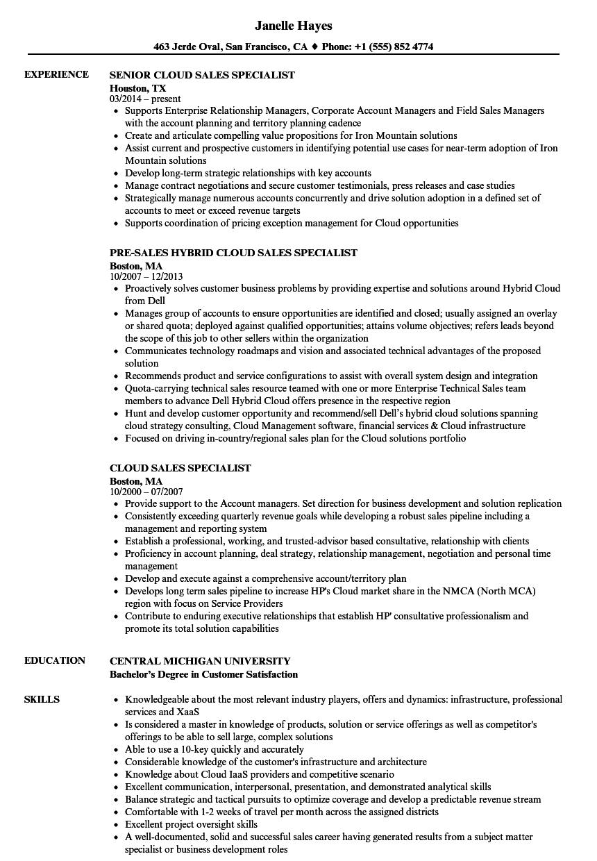 cloud sales specialist resume samples
