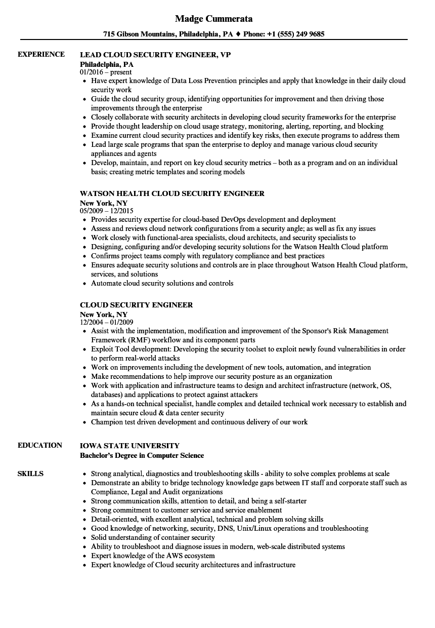 cloud security engineer resume samples
