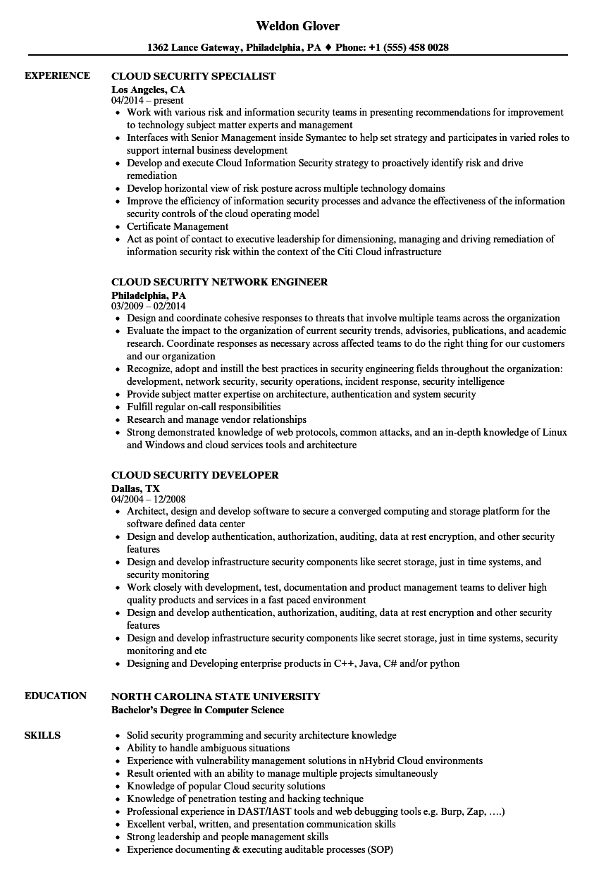 Cloud Security Resume Samples | Velvet Jobs