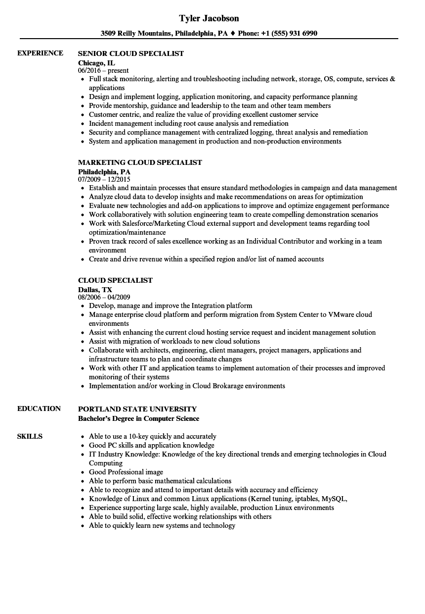 cloud specialist resume samples