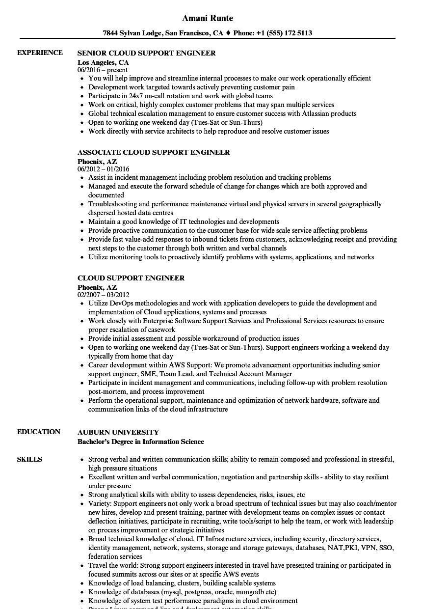 cloud support engineer resume samples