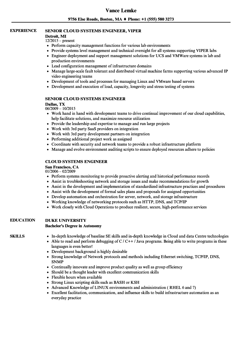 cloud systems engineer resume samples